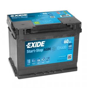Autobaterie Exide Start-Stop AGM 12V 60Ah 680A EK600