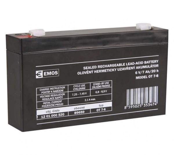 Emos bezúdržbový olověný akumulátor SLA 6V/7Ah FA-4,7mm 1201000520 B9659
