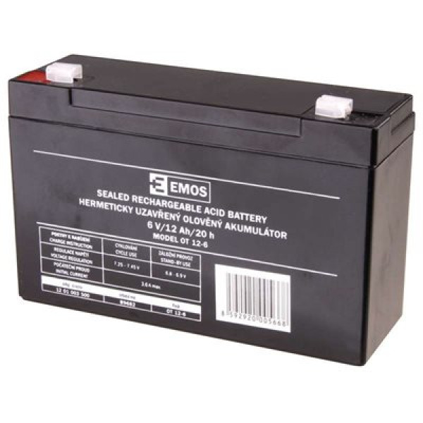 Emos bezúdržbový olověný akumulátor 6V/12Ah FA-4,7mm B9682 1201003500